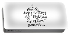 Portable Battery Charger featuring the drawing A Candle by Nancy Ingersoll