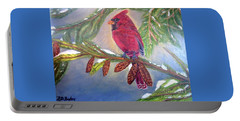 Portable Battery Charger featuring the painting A Cardinal's Sweet And Savory Song Of Winter Thawing Painting by Kimberlee Baxter