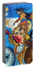 A Cat And A Fiddle Portable Battery Charger by Mindy Newman