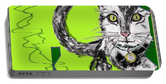 Portable Battery Charger featuring the drawing A Cat by Desline Vitto