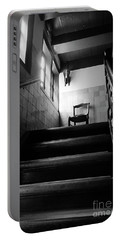 A Chair At The Top Of The Stairway Bw Portable Battery Charger by RicardMN Photography