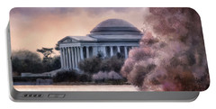 Portable Battery Charger featuring the digital art A Cherry Blossom Dawn by Lois Bryan