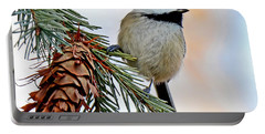 Portable Battery Charger featuring the photograph A Christmas Chickadee by Rodney Campbell