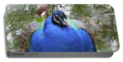 A Close Up Look At A Blue Peafowl Portable Battery Charger by DejaVu Designs
