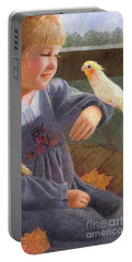 Portable Battery Charger featuring the painting A Cockatiel Named Sunshine by Nancy Lee Moran