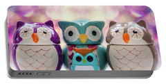A Colourful Parliament Of Owls Portable Battery Charger by Martina Fagan