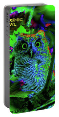 A Cosmic Owl In A Psychedelic Forest Portable Battery Charger