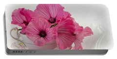 A Cup Of Pink Lavatera Flowers Portable Battery Charger