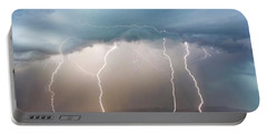 Four Lightning Bolts In The Mountains, Palominas, Arizona Portable Battery Charger