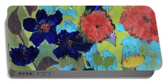 Portable Battery Charger featuring the painting A Dandelion Weed Making It's Way In The Garden by Robin Maria Pedrero