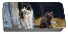 A Day In The Life Of A Barn Cat Portable Battery Charger by John Rivera