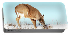 A Deer Playing In Snow Portable Battery Charger
