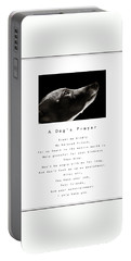 A Dog's Prayer In White  A Popular Inspirational Portrait And Poem Featuring An Italian Greyhound Portable Battery Charger