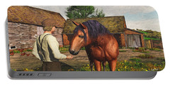 A Farmer And His Horse Portable Battery Charger