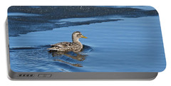 A Female Mallard In Thunder Bay Portable Battery Charger by Michael Peychich