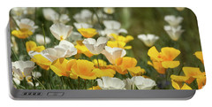 Portable Battery Charger featuring the photograph A Field Of Golden And White Poppies  by Saija Lehtonen
