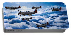 A Flight Of Red Tails In Oil Portable Battery Charger