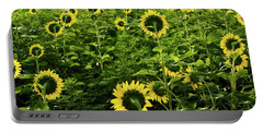 A Flock Of Blooming Sunflowers Portable Battery Charger