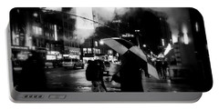 A Foggy Night In New York Town - Checkered Umbrella Portable Battery Charger