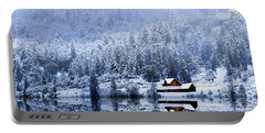 Portable Battery Charger featuring the photograph A Foggy Winter Night by Diane Schuster