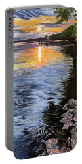 A Fraser River Sunset Portable Battery Charger