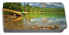 Portable Battery Charger featuring the photograph A Gentle Light At Lake Annette by Tara Turner
