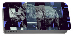 Portable Battery Charger featuring the digital art A Geometric Rhinoceros. by Anthony Murphy