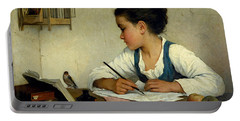 A Girl Writing. The Pet Goldfinch Portable Battery Charger