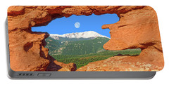 A Glimpse Of The Mighty Rockies Through A Rocky Window  Portable Battery Charger