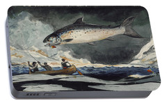 Portable Battery Charger featuring the painting A Good Pool. Saguenay River by Winslow Homer