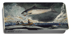 A Good Pool. Saguenay River Portable Battery Charger by Winslow Homer