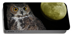 A Great Horned Owl And Moon Against Black  Portable Battery Charger