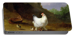 A Hen With Her Chicks Portable Battery Charger by Eugene Joseph Verboeckhoven