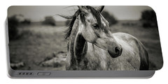 A Horse In Profile In Black And White Portable Battery Charger