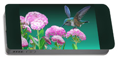 A Hummingbird Visits Portable Battery Charger