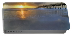 A Jacksonville Beach Sunrise - Florida - Ocean - Pier  Portable Battery Charger