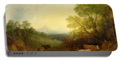 A Landscape With Cattle And Figures By A Stream And A Distant Bridge Portable Battery Charger