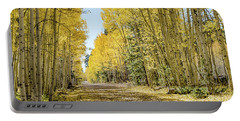 Portable Battery Charger featuring the photograph A Lane Of Gold by Gaelyn Olmsted