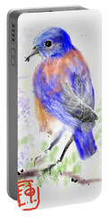 A Little Bird In Blue Portable Battery Charger
