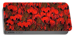 A Little Family Gathering Of Poppies Portable Battery Charger by Sherri's Of Palm Springs