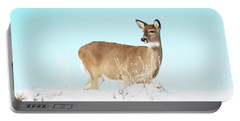 A Lonley Deer In Snow Portable Battery Charger