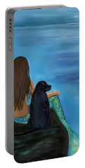 Portable Battery Charger featuring the painting A Loyal Buddy by Leslie Allen