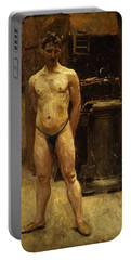A Male Model Standing Before A Stove John Singer Sargent Portable Battery Charger
