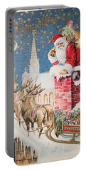 A Merry Christmas Vintage Greetings From Santa Claus And His Raindeer Portable Battery Charger