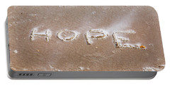 Portable Battery Charger featuring the photograph A Message On The Beach by John M Bailey
