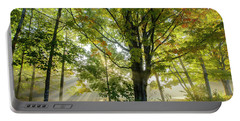 A Misty Fall Morning Portable Battery Charger