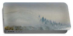 Portable Battery Charger featuring the painting A Misty Morning by Dorothy Darden
