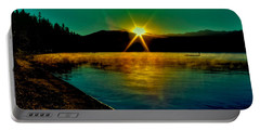 A Misty Sunrise On Priest Lake Portable Battery Charger by David Patterson