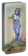 Portable Battery Charger featuring the painting A Moment In Time by Mary Haley-Rocks