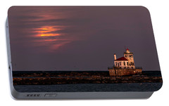 A Moonsetting Sunrise Portable Battery Charger by Everet Regal